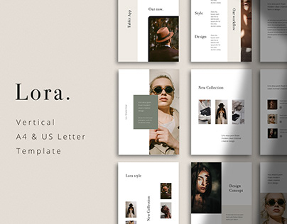 LORA - Vertical A4 + US Letter Powerpoint Template