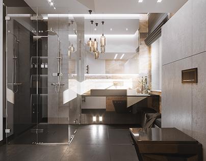MODERN SEMI-BLACK BATHROOM