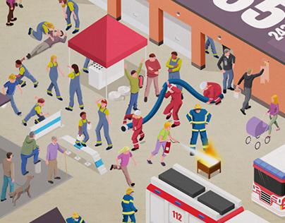 Illustratedposter for Finnish Rescue Organization