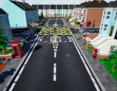 Stylized UK Modular House and Road