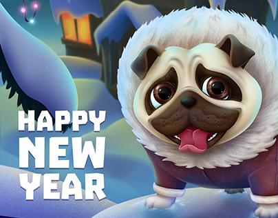 Happy New Year Pug