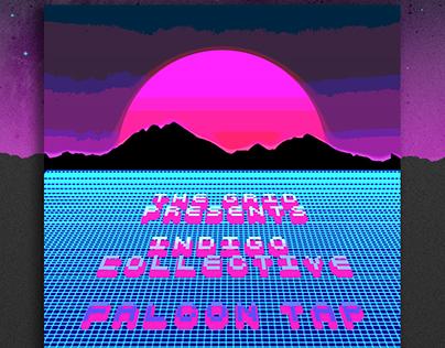 80's Grid Sunset Poster