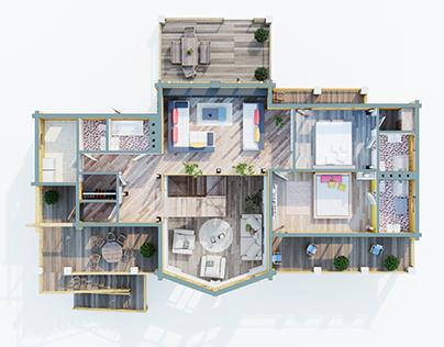 3D-планировка двухэтажного дома (оцилиндрованный брус)