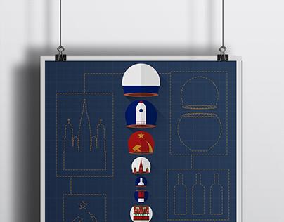 Poster Russia - Flat Design