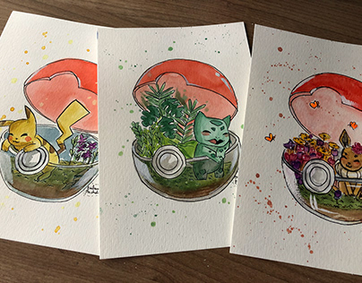 """Aquarelas """"Poke-terrarium"""""""