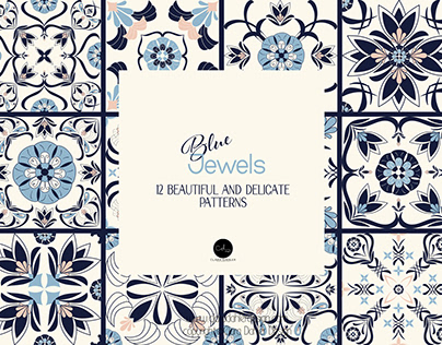 "Pattern - Tiles project ""Blue jewels"""