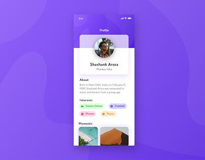 User Profile App Screen