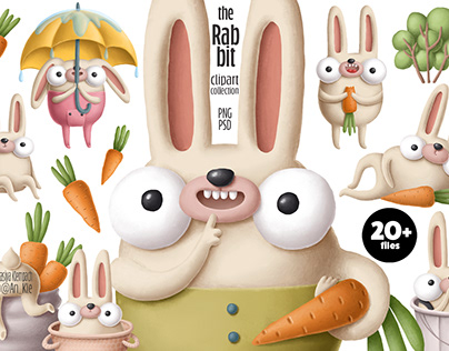 Rabbits clipart collection