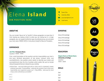 "Resume Template ""Elena Island"""