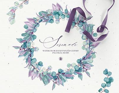 Serenade - floral watercolor clipart