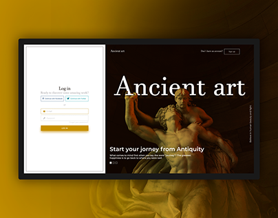 Login screen for langing about Antiquity