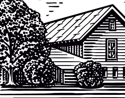 Woodcut farms and cows