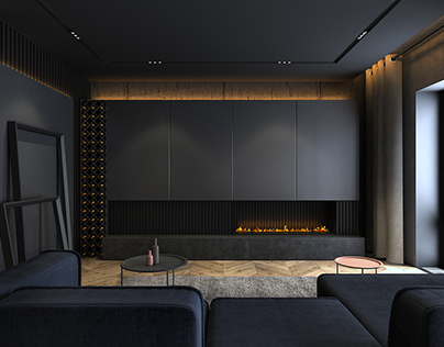 Dark grey apartment in Prague