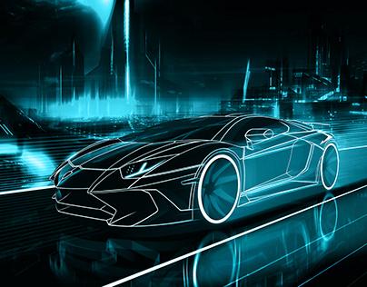 Tron-inspired Lamborghini Aventador SV Composite