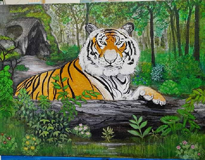Tiger behind the wood