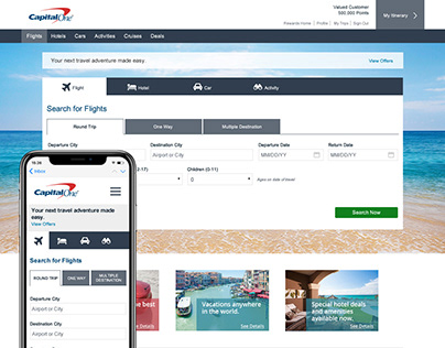 Capital One Rewards Travel Site Redesign