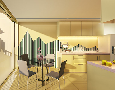 Luxury kitchen in apartment hotel. Advertising project.