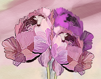 pinkish flowers smudging based illustration