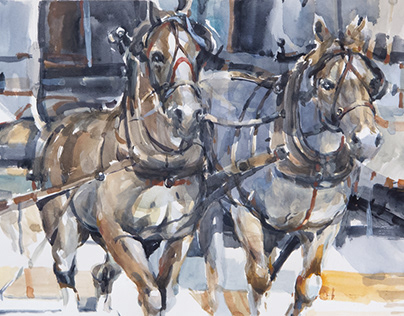 Horses 20, watercolour 38 x 56 cm