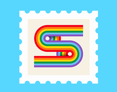 S Letter, illustration ,Rainbow Type typography