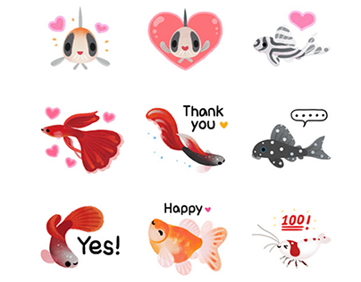 Tropical fish sticker pack