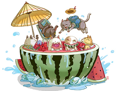 Summer of watermelons and cats