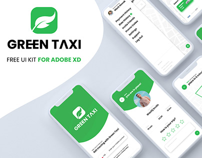 Green Taxi - Free UI Kit for Adobe XD