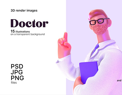 Doctor, 3D render illustrations