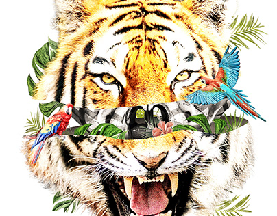 Tropical Tiger Tshirt Design