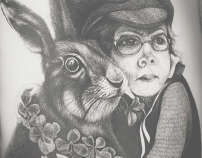 Mr. Hare in gray clover
