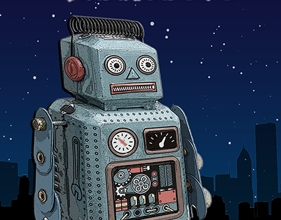 PSdailychallenge June 2019 - Robot with cityscape