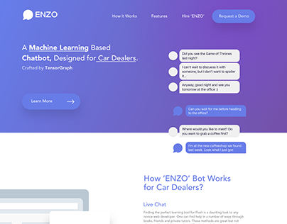 Automotive Machine Learning based product landing page