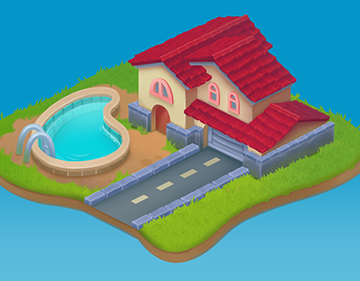 Isometric home with swimming pool