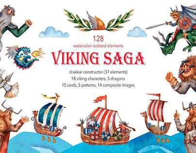 Viking Saga - Watercolor Clip Art