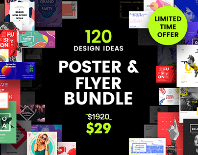 120 in 1 Poster & Flyer Design Templates Bundle