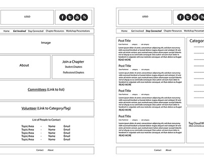 Wireframes for the ACM SIGGRAPH Chapters Website