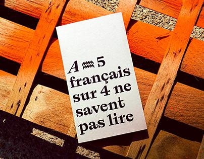 A = 5 Français sur 4 ne savent pas lire