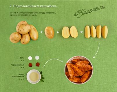 Курица гриль с картофелем айдахо