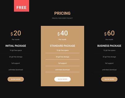 Pricing table free