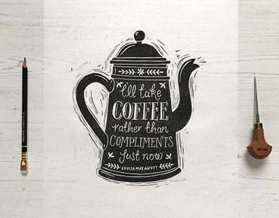Coffee Lino Cut Print