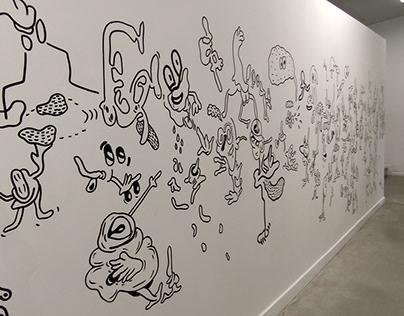 Mural drawing in Gent Arteveldehogeschool 8 meters long