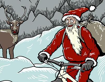 santa on a snowbike