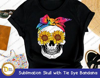 Sublimation Skull with Tie Dye Bandana