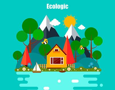 Flat Illustration on Ecologic theme