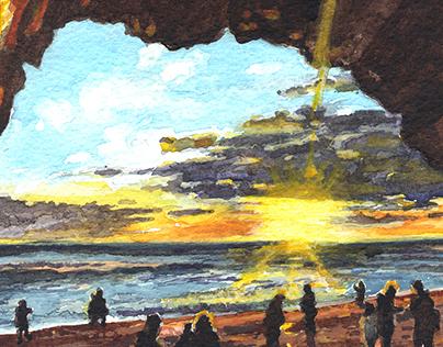 Twitter Art Exhibit - Vik, Iceland Watercolour