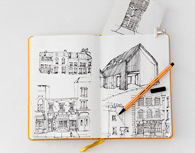 hand drawing buildings sketches
