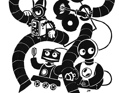Slightly Overdone Robots Illustration