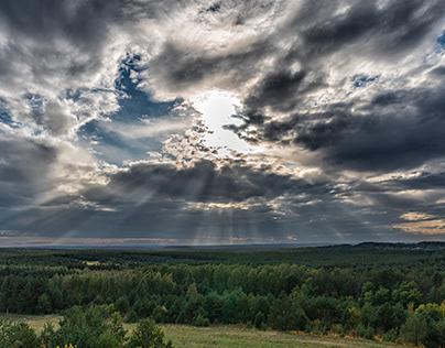 The panorama of Jurassic scenery close to Olsztyn