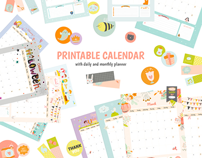 Cute monthly and daily planner