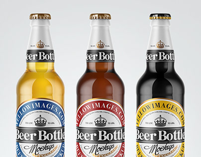 7 Beer Bottles PSD Mockups